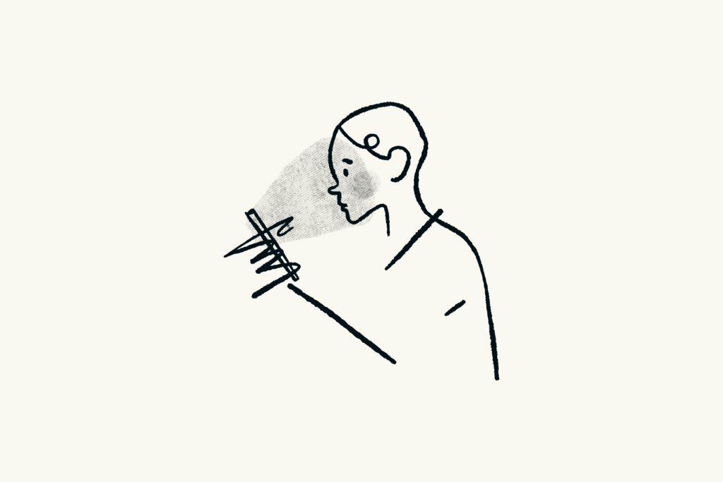 Eine gezeichnete Person schaut auf das Smartphone